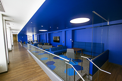 Blue room student lounge on second floor of the Urban Campus connector building