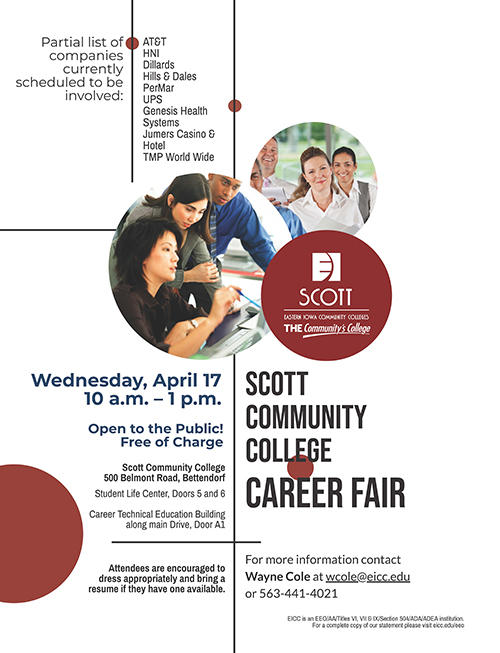 SCC Career Fair Flyer, all text content is in copy