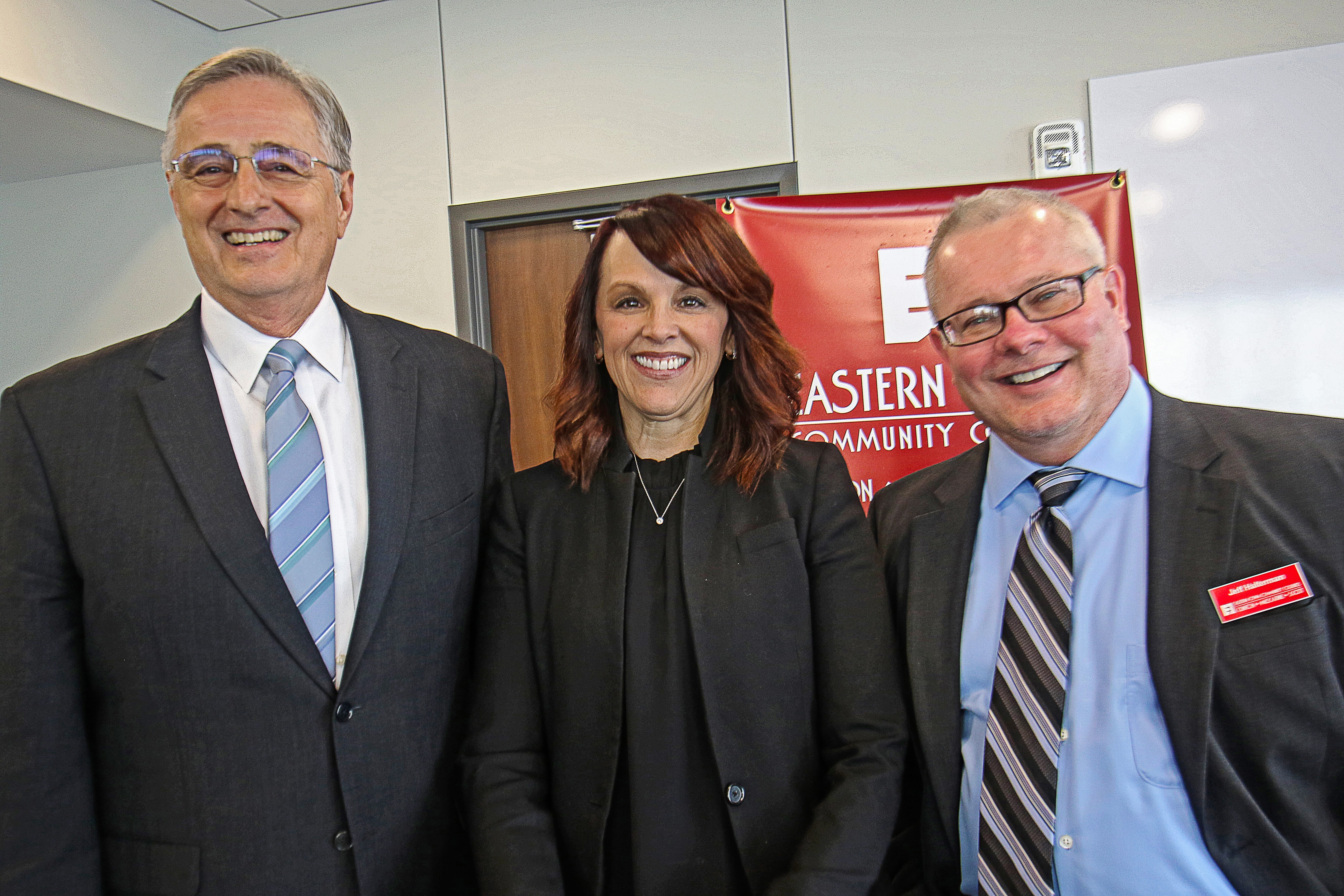 Dr. Don Doucette, Briar Cliff President Rachelle Karstens and Jeff Armstrong