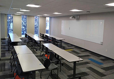 Urban Campus Classroom, tables and Whiteboard
